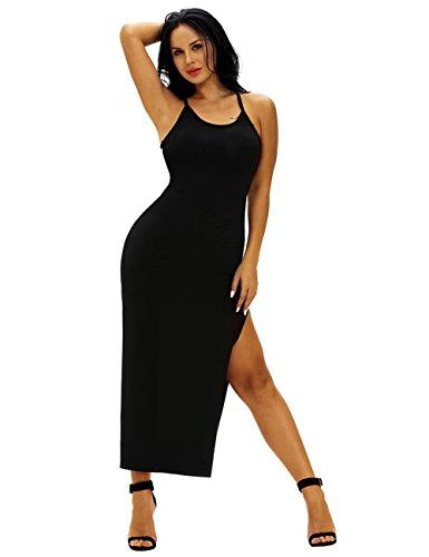 Ninimour Womens Spaghetti Straps Back Ribbed Double Side Slit Maxi Dress Black L