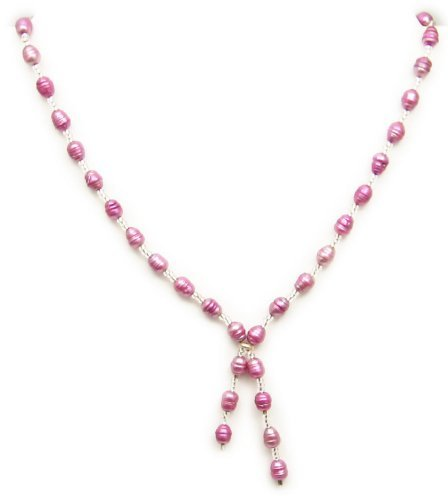 Raspberry Pink Freshwater Pearl Necklace - unique by Dragonheart