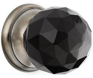 Faceted Glass Door Knob - Black Nickel - 50mm by New A-Brend