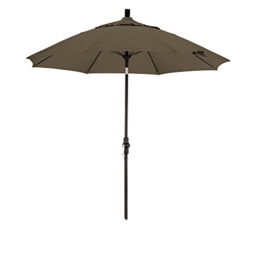 California Umbrella 9-Feet Sunbrella Fabric Fiberglass Rib Crank Lift Collar Tilt Aluminum Market Umbrella with Black Pole, Cocoa