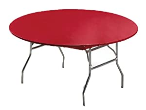 Creative Converting Round Stay Put Plastic Table Cover, 60-Inch, Regal Red