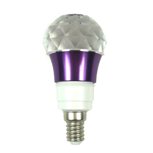 Generic E14 3W Crystal Ball With Purple Metal Base Flash Rgb Multicolor 16 Color Chang Led Light Bulb+Ir Remote Control