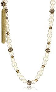 """Betsey Johnson """"Iconic Autumn"""" Pearl Bead and Fireball Strand Necklace"""