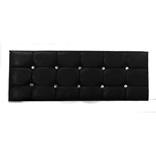 Faux Leather Black Crystal Diamante Double Bed 4ft6