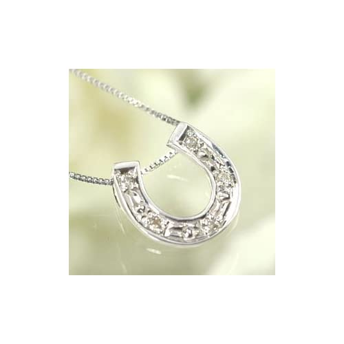 [キュートジュエリー]Cute jewerly ダイヤモンド ペンダント ネックレス K18WG ダイヤモンド0.03ct 馬蹄ペンダント