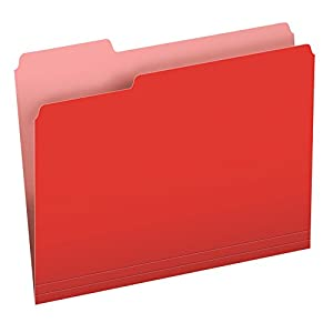 Pendaflex Two-Tone Color File Folders, Letter Size, 1/3 Cut, Red, 100 per Box (152 1/3 RED)