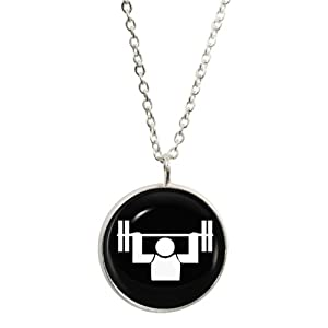Athletic Weightlifting Symbol Pendant and Silver Plated Necklace Set