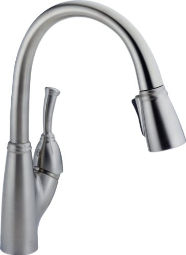 Delta Faucet 989-AR-DST Allora Single Handle Pull-Down Kitchen Faucet, Arctic Stainless