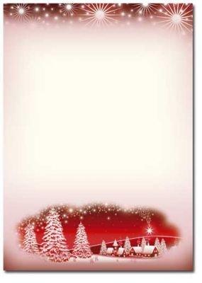 briefpapier weihnachtsmotiv winterdorf rot 100 blatt. Black Bedroom Furniture Sets. Home Design Ideas
