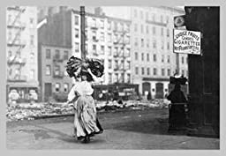 30 x 20 Canvas. Immigrant Woman Walks Down Street Carrying a Pile of Clothing on Her Head