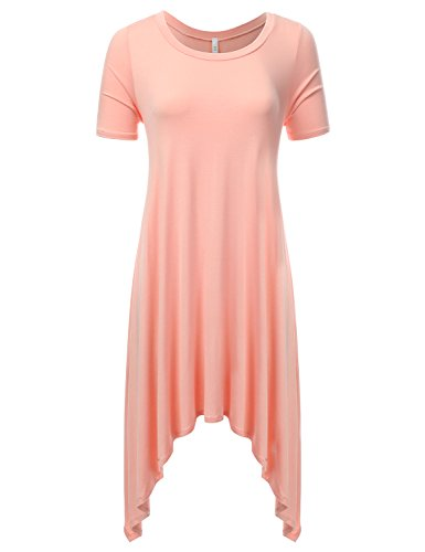 DRESSIS Women's Short Sleeve Round Neck Pleated Shark Bite Flared Maxi Dress PEACH L