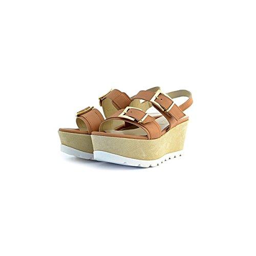 Scarpe sandali donna Jeannot numero 36 35163 in pelle marrone cuoio brown zeppa tacco