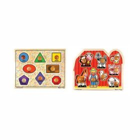 Cheap Fun Melissa & Doug Large Shapes and Large Farm Wooden Jumbo Knob Puzzle Bundle (B000FQBCFQ)
