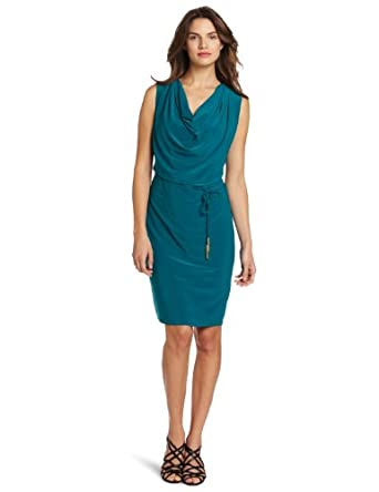 Jones New York Women's Matte Jersey Tie Belt Cowl Neck Dress, Blue, 4