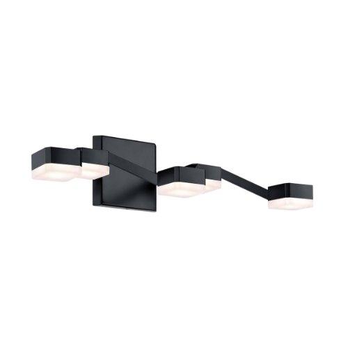 Sonneman 2321 Lattice 5 Light Led Bathroom Bath Bar, Satin Black With White Etched Shade