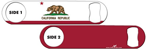 Inked Bottle Opener Flag: California