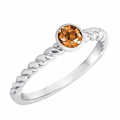 Ryan Jonathan Citrine Braided Stackable Solitaire Ring in Sterling Silver