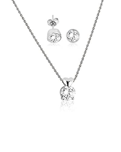 Shiny Cristal Conjunto de cadena, colgante y pendientes plata de ley 925 milésimas rodiada