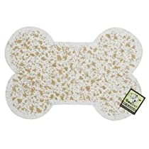 ORE Pet Recycled Rubber Pet Placemat Mini Bone - White