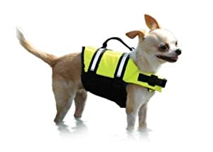 Paws Aboard Medium Designer Doggy Life Jacket Neon Yellow by Paws Aboard