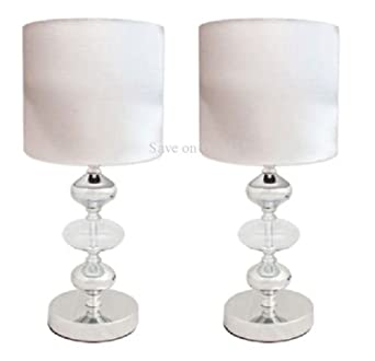Pair Cream White Metal Glass Amp Fabric Side Table Lamps