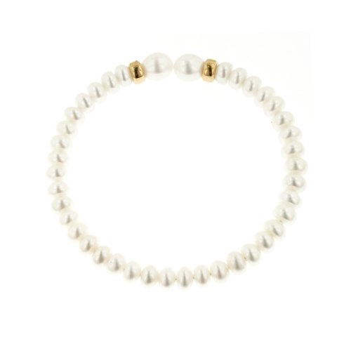 14K Yellow Gold Rondelles White Oval and Center Drilled Freshwater Cultured Pearl Coil Bracelet (6-8mm)