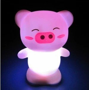 2Pcs Novelty Happy Pig Night Light Home Decoration Bedside Lighting Lamp 7 Color Changing Night Lamp Funny Table Lamp Light