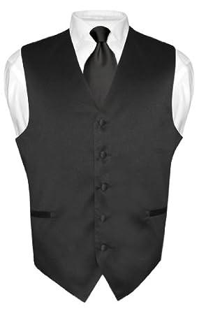 Men's Dress Vest NeckTie BLACK Color Neck Tie Set for Suit or Tuxedo XXL
