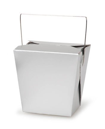Silver Chinese Takeout Boxes - Favor Containers (5 pc)