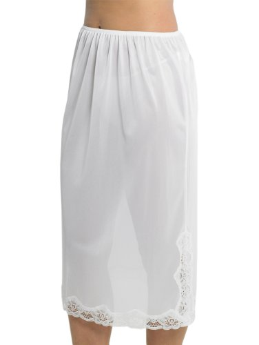Womens/Ladies Underskirt Slip With Lace Trim 100% Polyester Cling Resistant, 29Inch Length (73cms), White 12/14