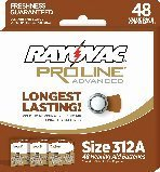 Rayovac Mercury Free Proline Advanced Size 312 Hearing Aid Batteries, Total of 48 Batteries
