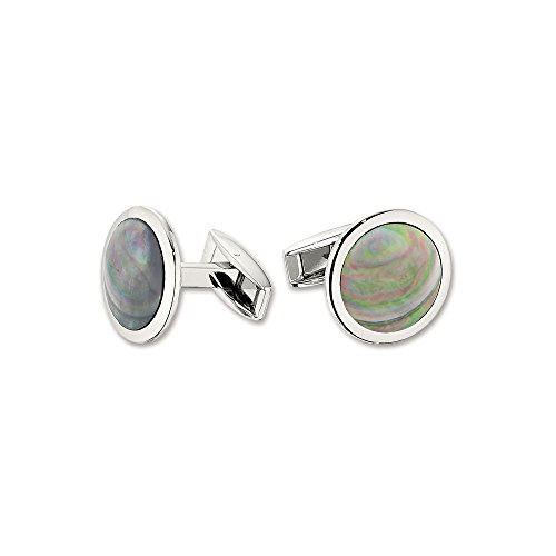 Stainless Steel Pink Mother Of Pearl Cuff Links