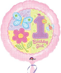 Anagram International Hx Hugs/Stitches 1st Birthday Girl Balloon, Pink