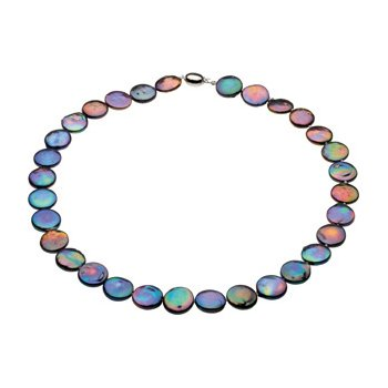 Sterling Silver Black Freshwater Cultured Coin Pearl Necklace