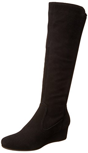 Rockport Women's Total Motion Tall Gore Wedge Boot,Black Suede Wide Calf,6.5 M US