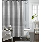 J. Queen New York Soho Silver & Grey Striped Fabric Shower Curtain