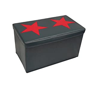 RiverRidge Kids Large Storage Ottoman with Star Design Dark Blue/Red