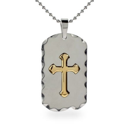 Mens Stainless Steel Gold Cross Dog Tag Necklace Length 36 inches (Lengths 18 inches 20 inches 24 inches 36 inches Available)