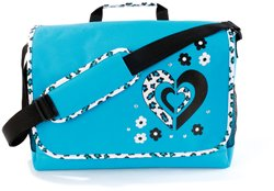 Leopard Heart Girls School Glitter Baby Blue Messenger Laptop Bag Case