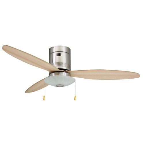 Yosemite Home Decor Royale-Bn 52-Inch Hugger Ceiling Fan With Light Kit And Light Maple Blades, Brushed Nickel