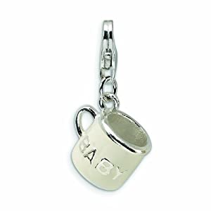 Sterling Silver 3-D White Enameled Baby Cup with Lobster Clasp Charm