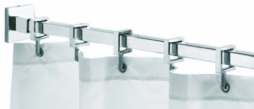 Croydex Ad116441yw 98 Inch Square Max Shower Rod With Curtain Hooks Chrome Shower Curtains