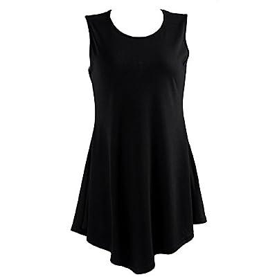 HDE Women's Flare Tunic Tank Top Summer Sleeveless Handkerchief Hem Shirt