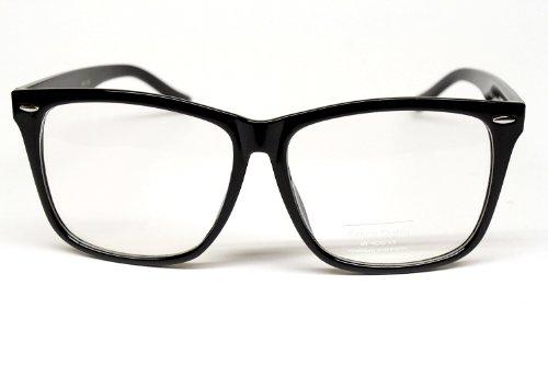 [Vintage Retro Wayfarer Clear Sunglasses Eyeglasses Mens Womens Black W118] (Cheap Nerd Glasses)
