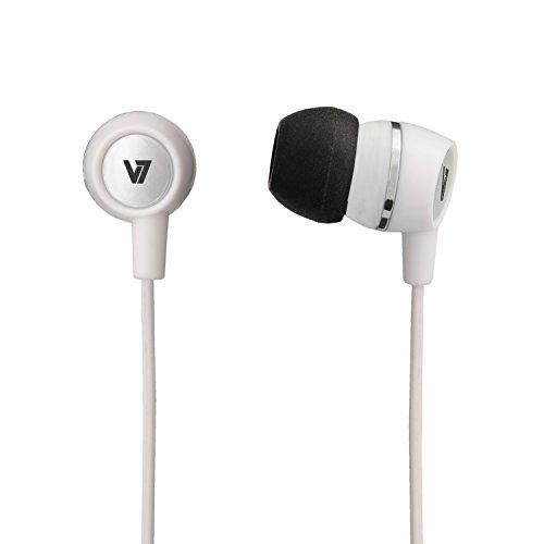V7 Stereo In Ear Headset | Ohrhörer | Kopfhörer | Inline Mikrofon mit Rufannahme | 3.5 mm Klinke 90 Grad abgewinkelt | für iPad , iPhone ,MP3-Player, Samsung Galaxy, HTC , Sony Experia,Tablets und Smartphones| Weiß