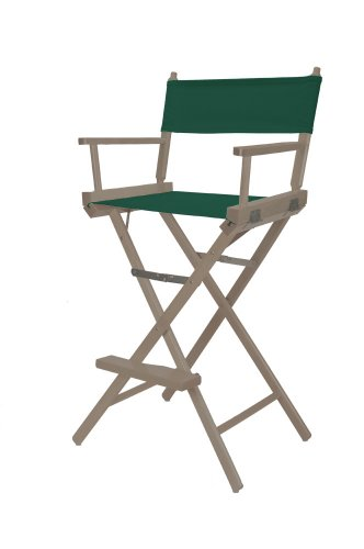 Telescope Casual Heritage Bar Height Director Chair, Rustic Grey Finish With Green Canvas Fabric