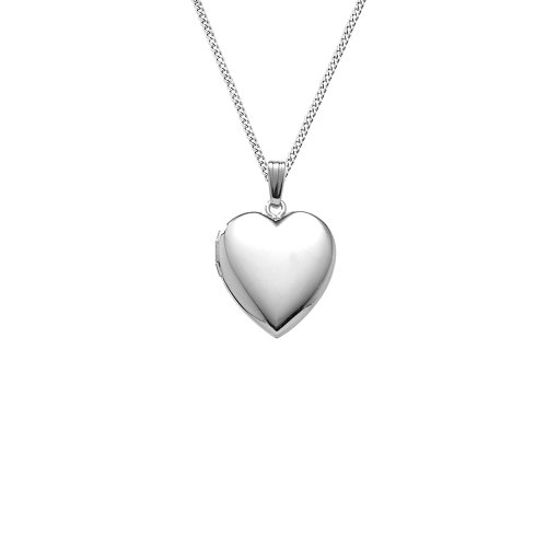 Sterling Silver Polished Heart Locket Pendant Necklace , 18
