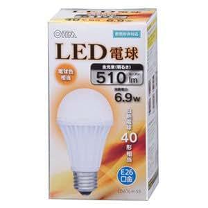 オーム LED電球 一般電球形 6.9W(電球色相当)OHM LDA7L-H53(06-3027)