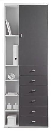 AVANTI TRENDSTORE - Armadietto grigio-metallico e bianco d'imitazione, ca. 69x194x34cm
