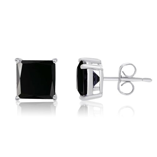 Sterling Silver Basket Set Square Black CZ Stud Earrings 3mm